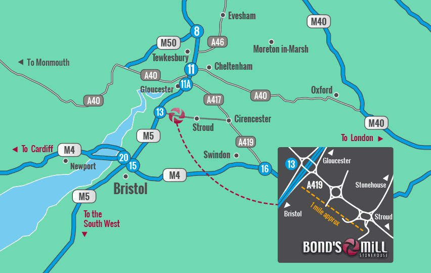 Map Of M5 Bond's Mill :: Convenient location with easy access to the M4 and M5 Map Of M5
